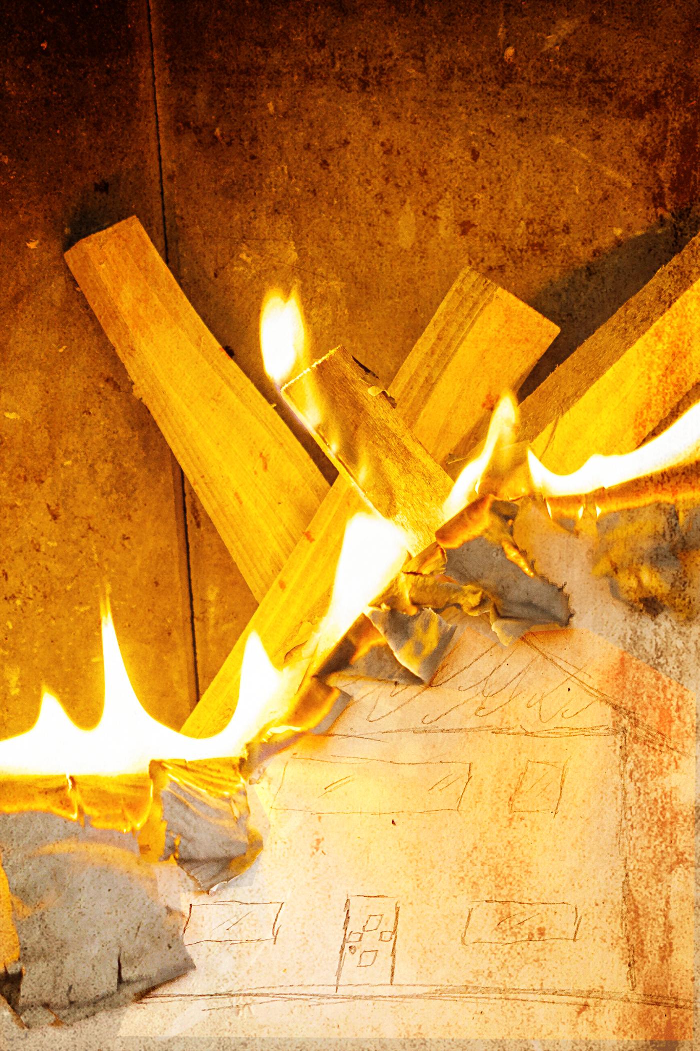 Brennendes Bild eines Hauses