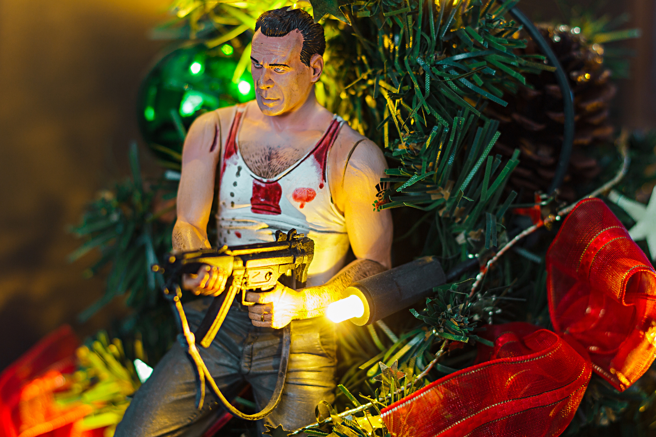 John McClane und Weihnachtsdeko